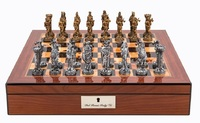 "Dal Rossi: Medieval Warriors - 16"" Pewter Chess Set (Walnut Finish)"