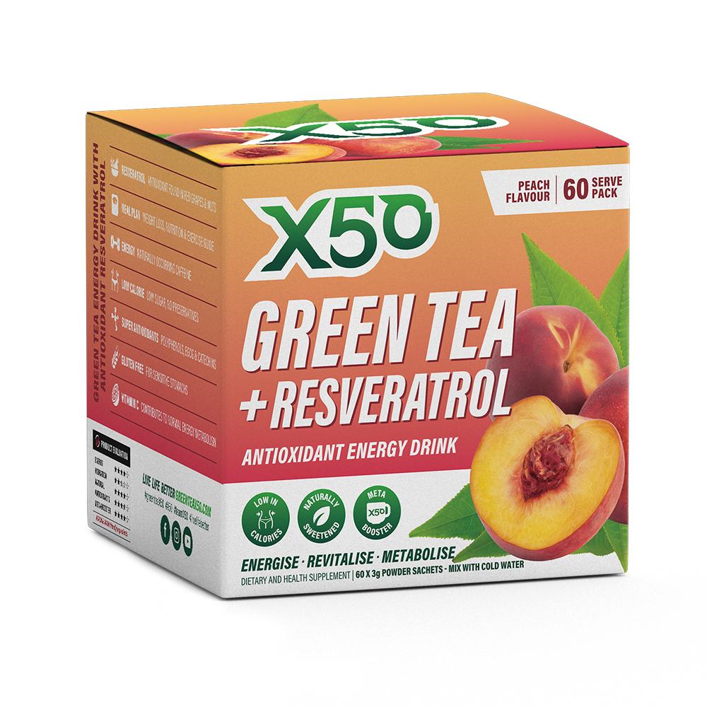 Green Tea X50 + Resveratrol - Peach (60 Sachets) image