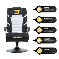 BraZen Pride 2.1 Bluetooth Surround Sound Gaming Chair (White) for