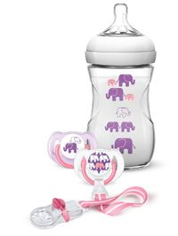 Philips AVENT - Natural Deco Design Bottle 260ml Pink/Purple Gift Set