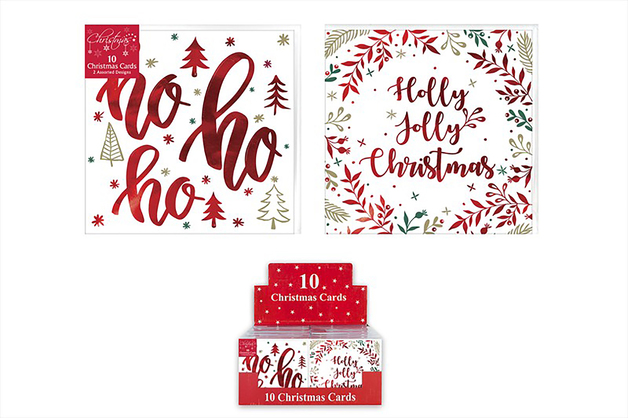 Boxed Christmas Cards - Script (Pack of 10)