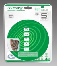 LEDware: LED Flex Ribbon Strip Kit - 12V 5m White LED/m Inc. Power Adapter