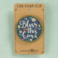 Natural Life: Visor Clip - Round Bless This Car