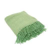 Sass & Belle: Green Herringbone Blanket Throw image
