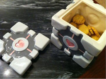 Portal Companion Cube Cookie Jar image