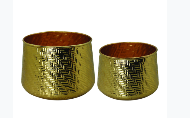 Madras Link: Weave Gold Planters (Set Of 2)