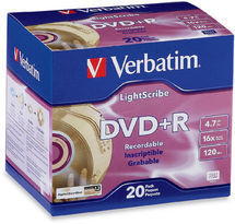 Verbatim DVD+R 4.7GB 20Pk Slim Case Lightscribe 16x