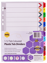 Marbig A4 Board 1-12 Tab Reinforced Dividers - Coloured