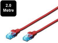 2m Digitus UTP Cat5e Network Cable - Red