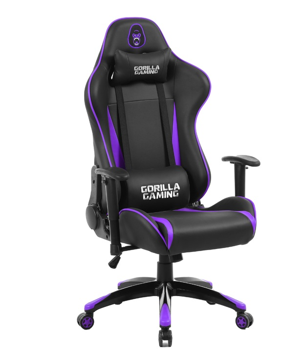 Gorilla Gaming Commander Chair - Purple & Black for