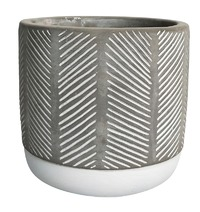 Diagonal Striped Two Tone Pot