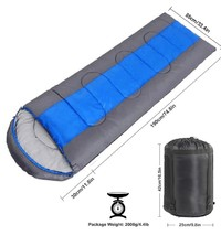 High Quality Envelope Hooded Sleeping Bag with Carry Bag - Blue/Dark Grey