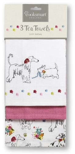 Cooksmart 3 Pack Tea Towels - Dapper Dogs