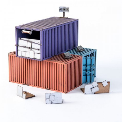 3X Damaged Stacked Containers