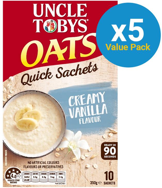 Uncle Tobys Oats (Creamy Vanilla, 350g) 5pk