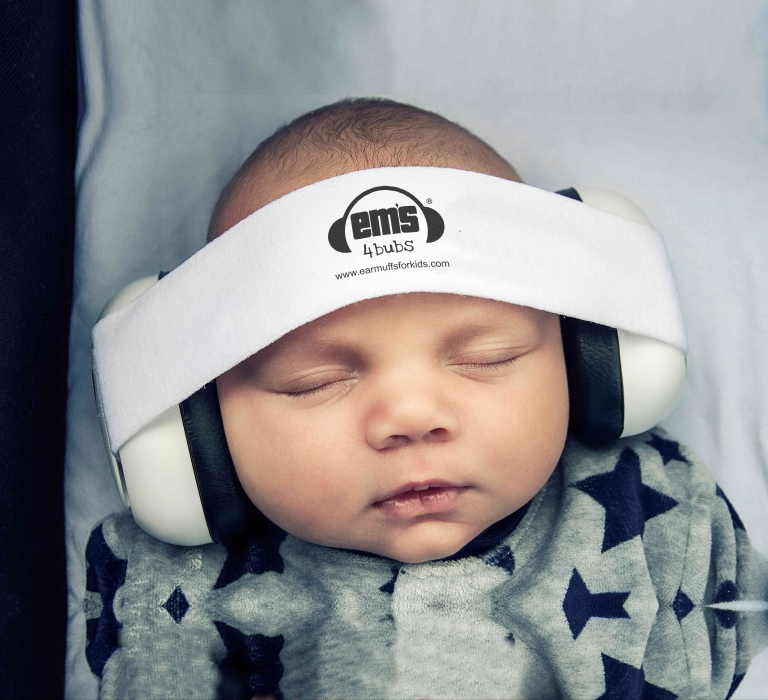 Em's for Kids: Baby Earmuffs - White/Pink Headband image