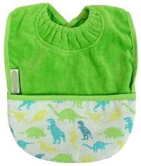 Silly Billyz Towel Pocket Bib (Lime Dinosaur)