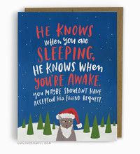 He Knows When You Are Sleeping Card