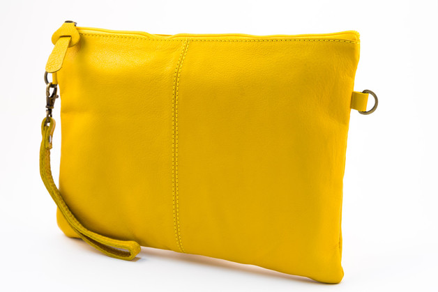 Millenium Paris: Paulette Large Clutch with Floral Lining - Yellow