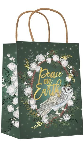Papaya:Christmas Gift Bag - White Snow Owl