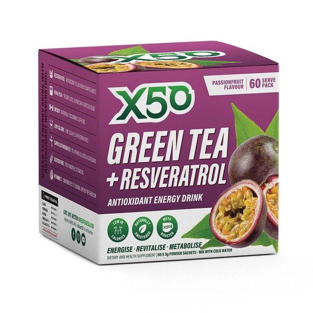 Green Tea X50 + Resveratrol - Passionfruit (60 Sachets)