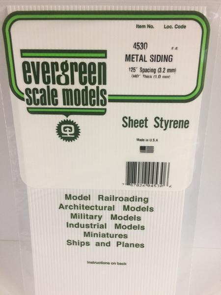 Evergreen Styrene Siding 15X29cm X 1 mm 3.2 mm Sp