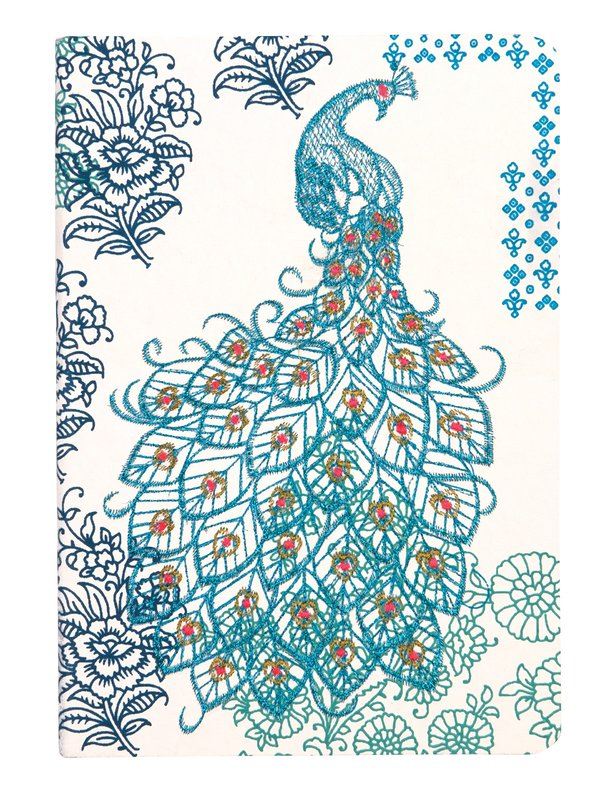 Journal : Handmade LG Embroidered - Peacock