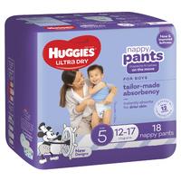 Huggies: Ultra Dry Nappy Boy Pants - Size 5 (18 Pack)