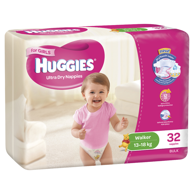 Huggies Ultra Dry Nappies Bulk - Walker Girl 13-18kg (32)