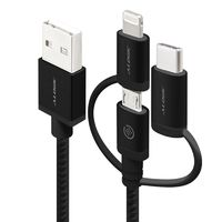 Alogic 3-in-1 Charge & Sync Cable - Micro USB, Lightning & UBS-C - Black (1m)