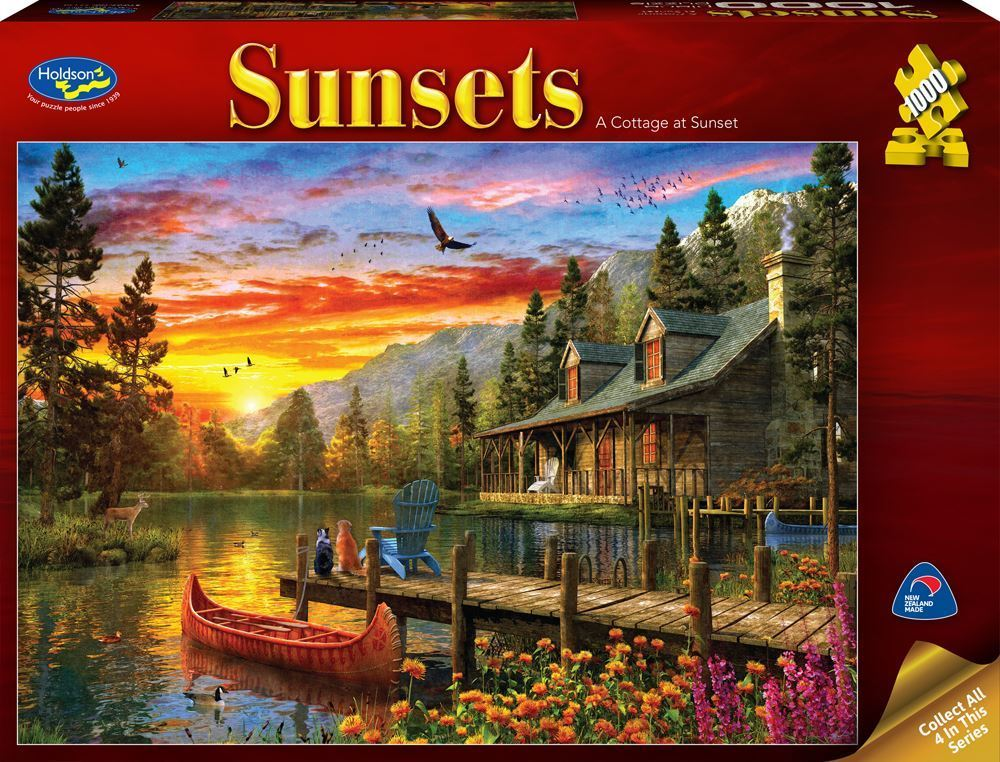 Holdson: 1000 Piece Puzzle - Sunsets (A Cottage at Sunset) image