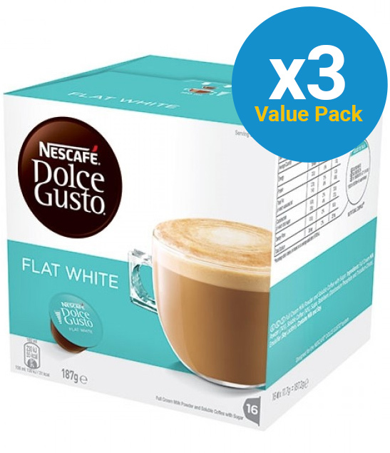 Nescafe: Dolce Gusto - Flat White (3 x 16 Pack)