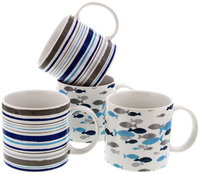 Rick Stein - Set of 4 Mugs Stripes and Fish