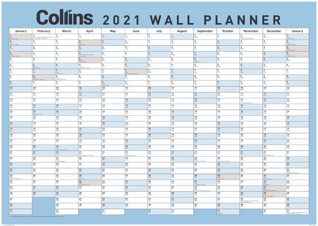 Collins: 2021 Large Laminated Wall Planner (Blue)