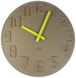 Pulp Wall Clock - Natural/Fluoro Yellow