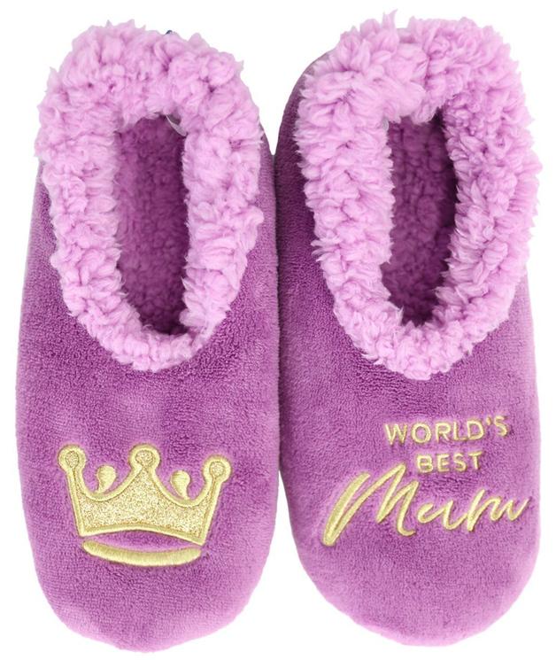 Slumbies: World's Best Mum Lilac - Womens Slippers (Small)