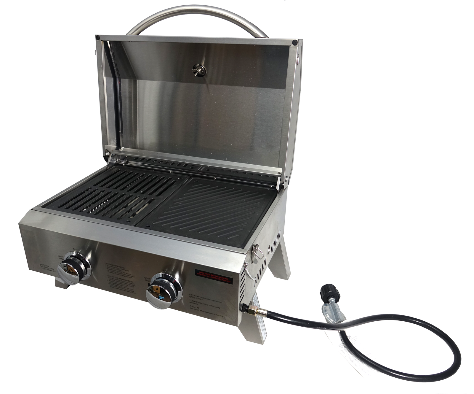 Portable Stainless Steel BBQ - 2 Burner Barbecue with Hotplate & Grill image