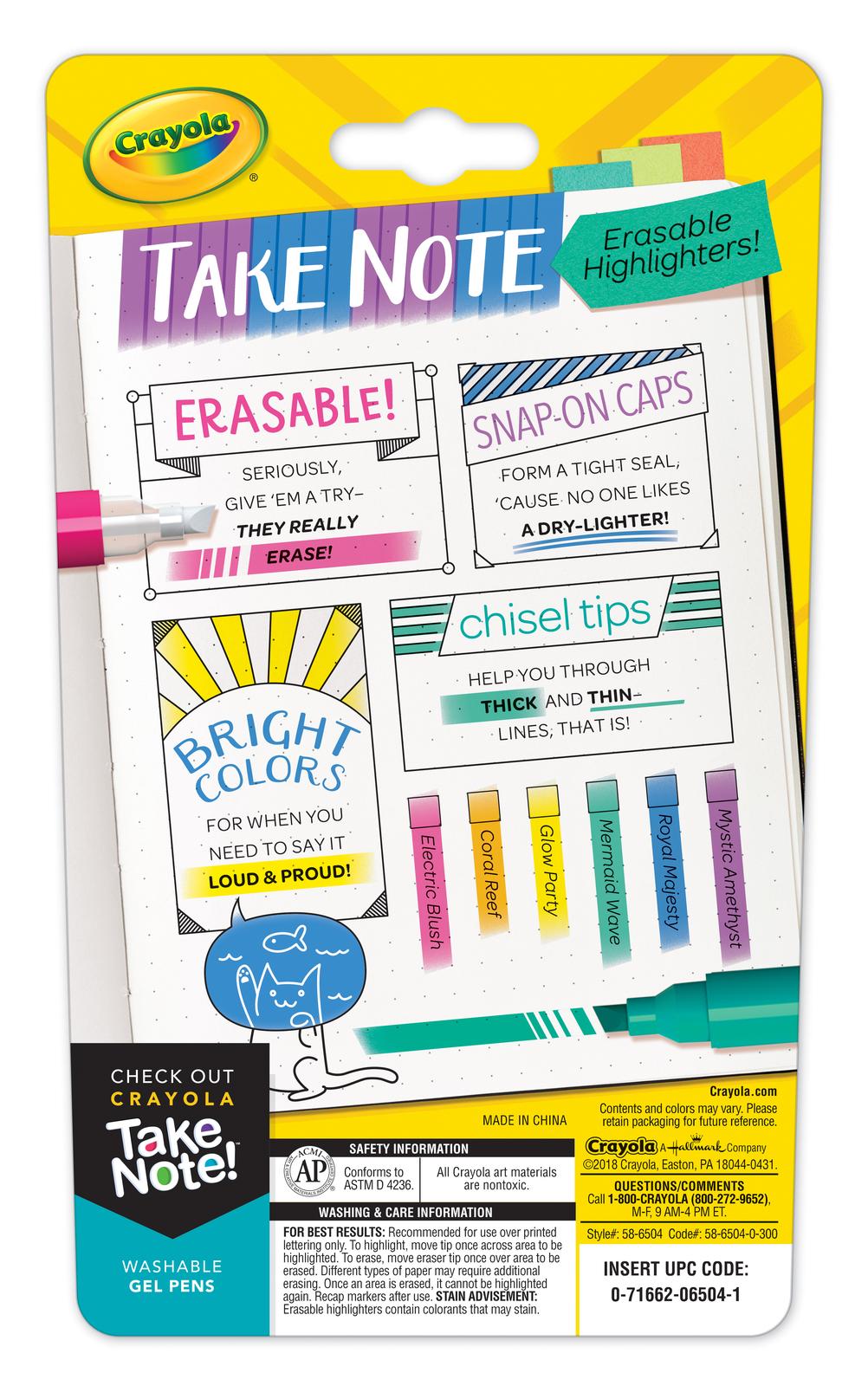 Crayola: Take Note - Erasable Highlighter Set (6-pc) image