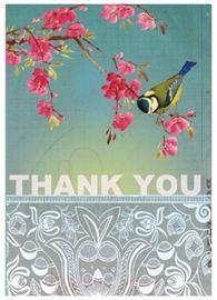 Papaya Thank You Card - Bird & Blossom (Small)