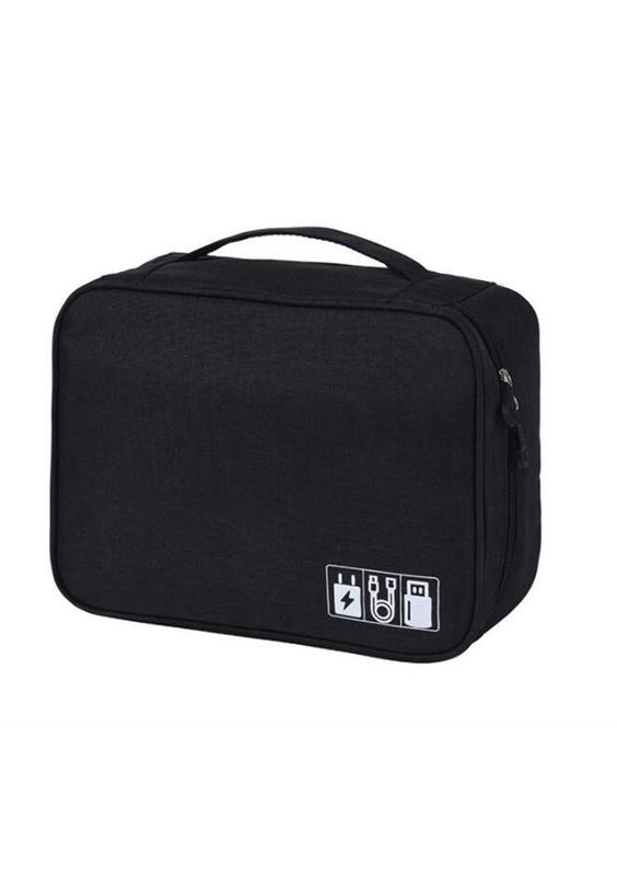 Charging Cable Travel Organiser Bag - Black