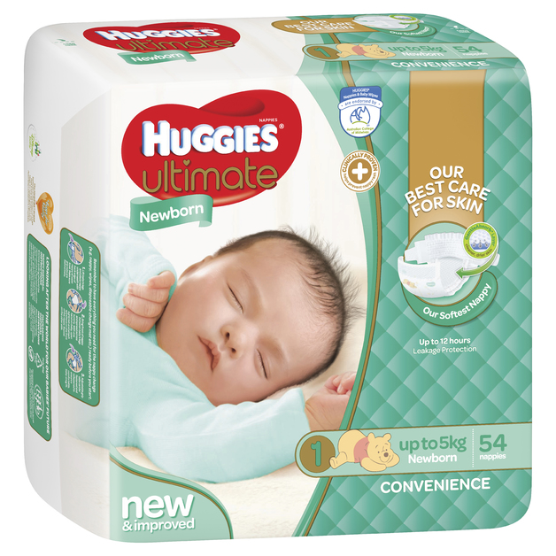 Huggies Ultimate Nappies Bulk - Newborn - Up to 5kg (54)