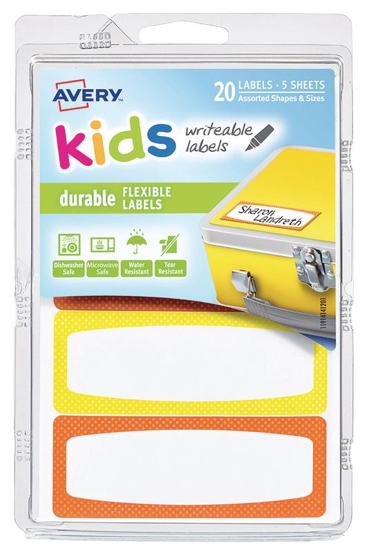 Avery: Kids Writable Labels - Orange & Yellow Neon Border