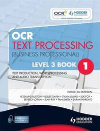 OCR Text Processing (Business Professional): Level 3, bk. 1 by Jill Downson image