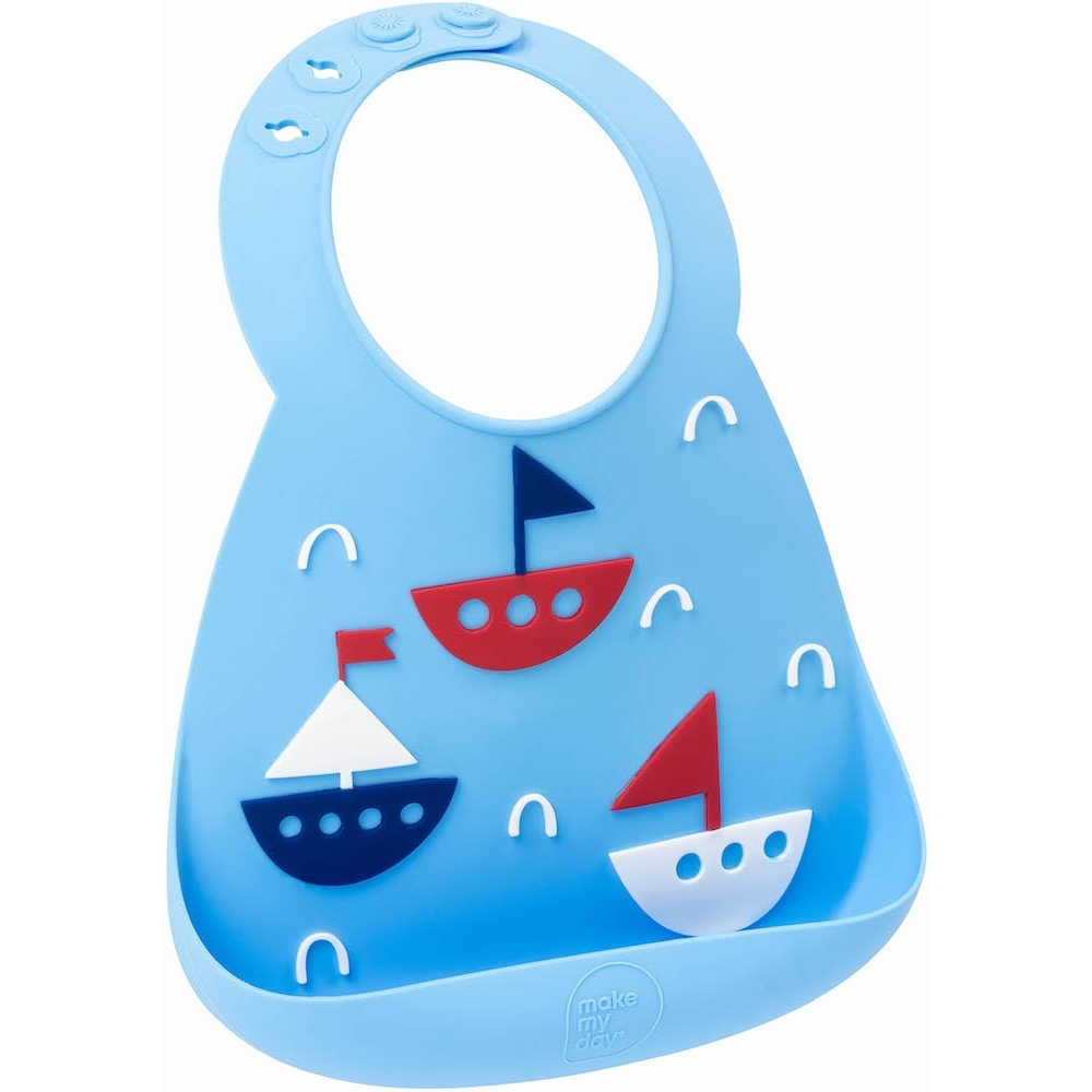 Make My Day: Silicon Baby Bib - Yacht Blue image