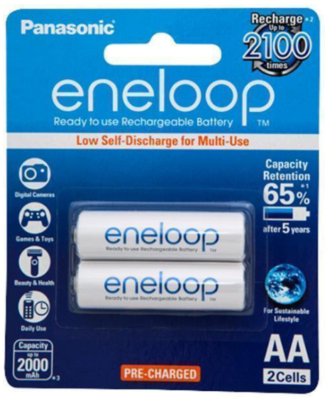 Panasonic Eneloop AA 2000mAh Rechargeable Batteries - 2 Pack