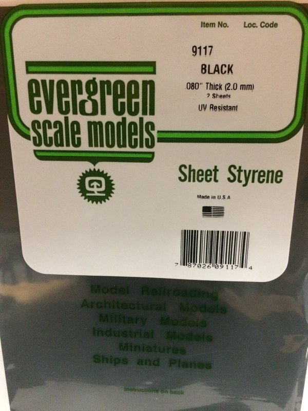 Evergreen Styrene Sheet Black 20X52cm X2.0 mm (1)