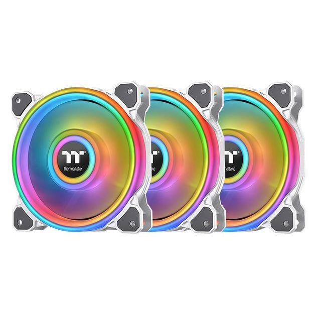 120mm Thermaltake Riing Quad 12 RGB Radiator Fan TT Premium Edition - 3 Pack (White)
