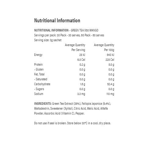 Green Tea X50 + Resveratrol - Mango (60 Serves) image