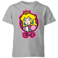 Nintendo Super Mario Peach Kanji Kids' T-Shirt - Grey - 11-12 Years image