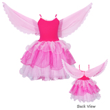 Pink Poppy: Flamingo Dress with Wings (Size 3/4) - Hot pink